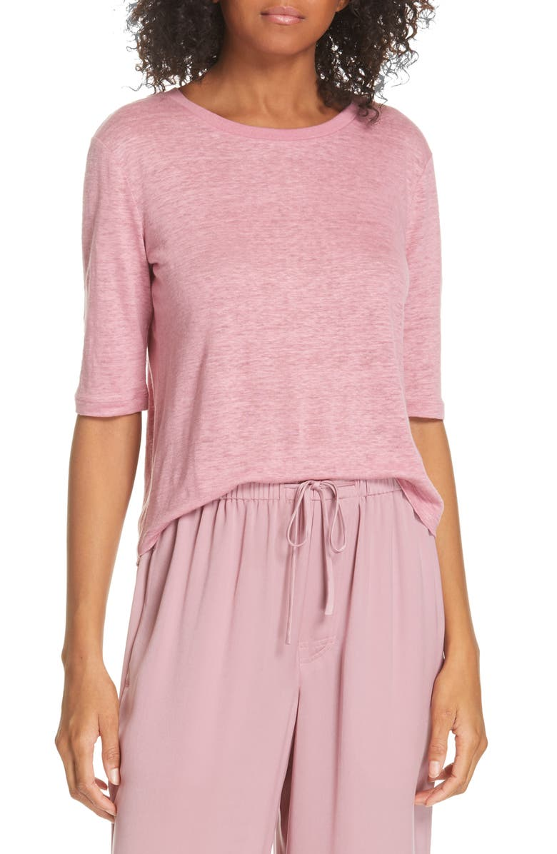 VINCE Elbow Sleeve Crewneck Linen Top, Main, color, 692