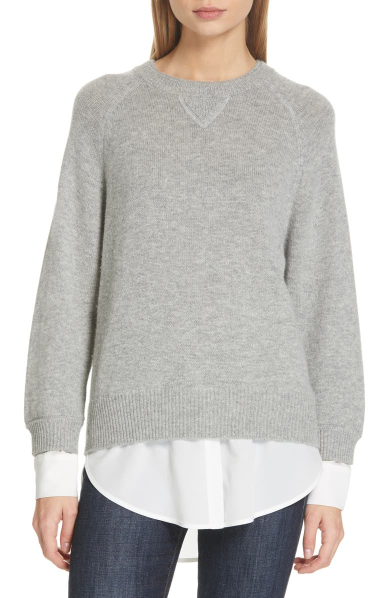 BROCHU WALKER Layered Wool & Cashmere Sweater, Main, color, HUSKY W/ WHITE