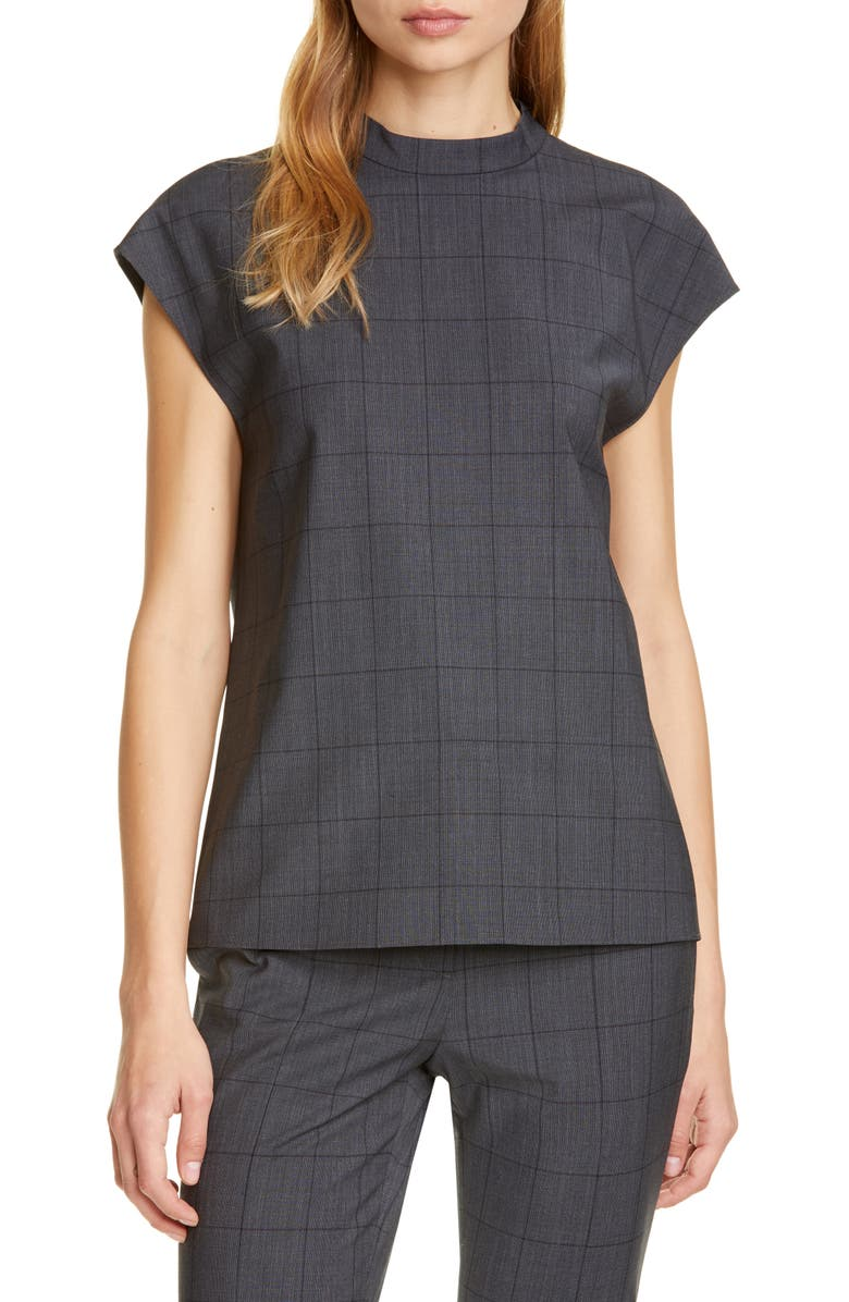 TIBI Menswear Windowpane Check Top, Main, color, GREY MULTI