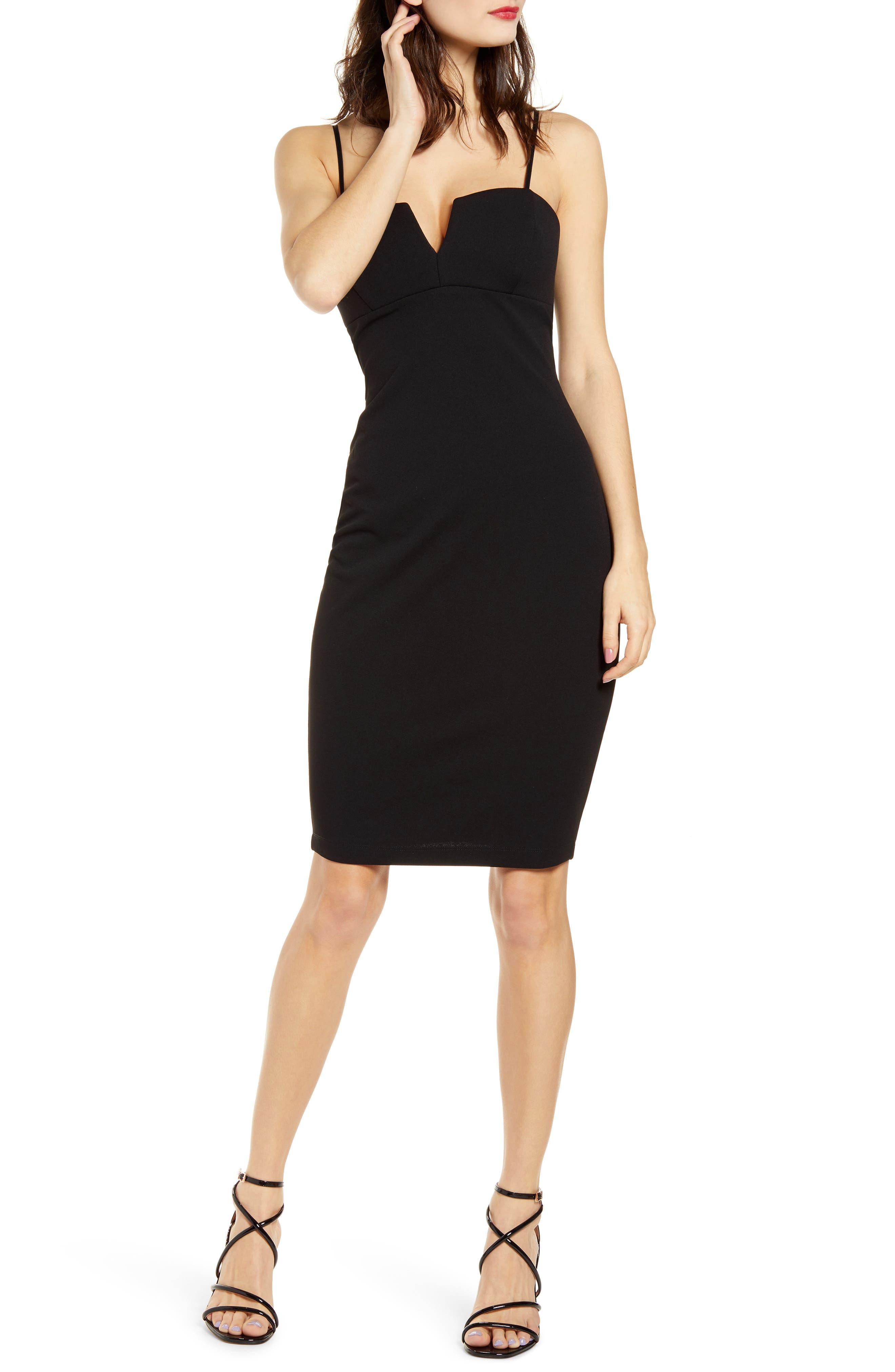 Love, Nickie Lew Notch Detail Body-Con Midi Dress, Black