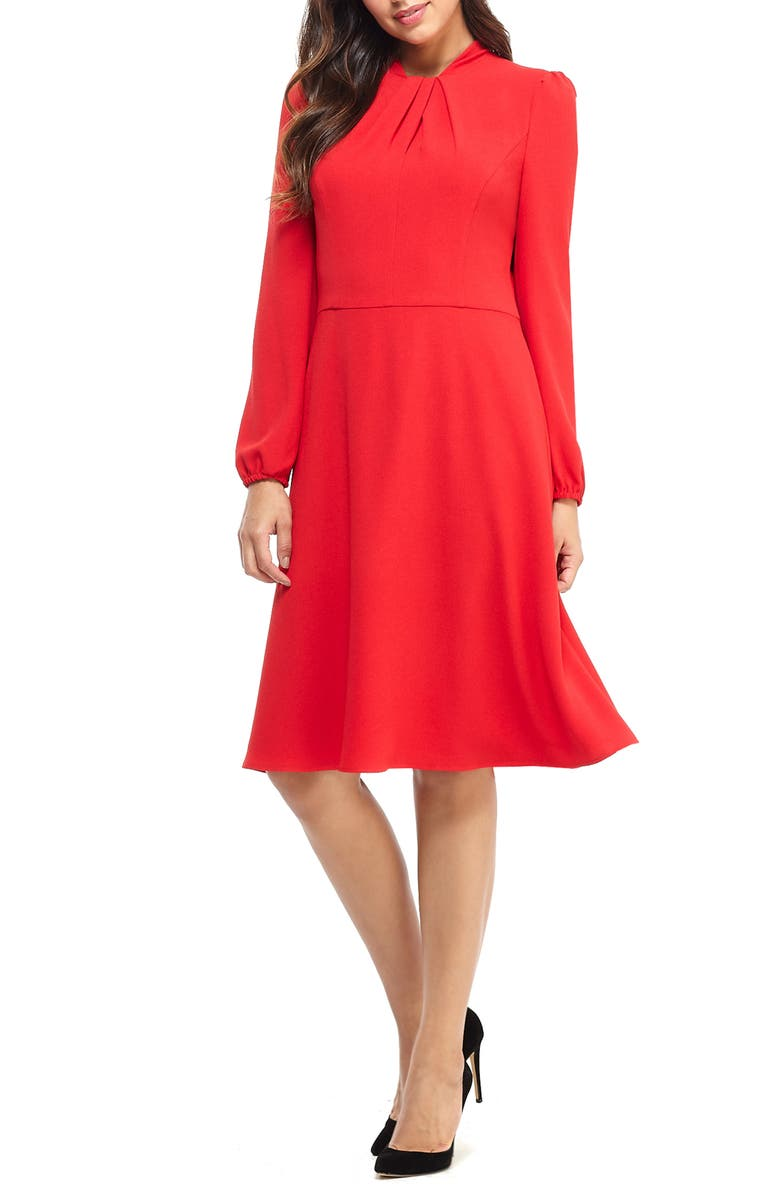 MAGGY LONDON Pleat Twist Neck Long Sleeve Dress, Main, color, ROSE TRELLIS