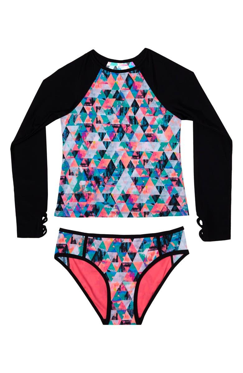 46524e4135494 Gossip Girl Kaleidoscope Daydream Two-Piece Rashguard Swimsuit (Big ...