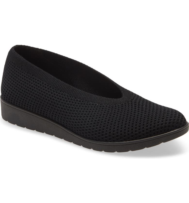 EILEEN FISHER Heaven Mesh Flat, Main, color, BLACK STRETCH FABRIC