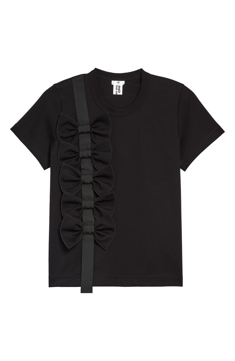 NOIR KEI NINOMIYA Bow Detail Cotton Ponté T-Shirt, Main, color, 001