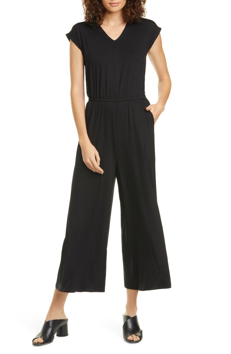 EILEEN FISHER Stretch Jumpsuit, Main, color, BLACK