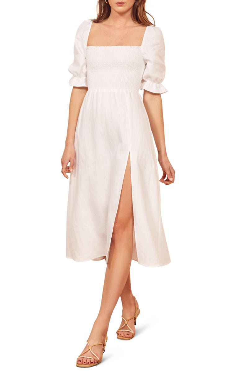 REFORMATION Marabella Linen Dress, Main, color, WHITE