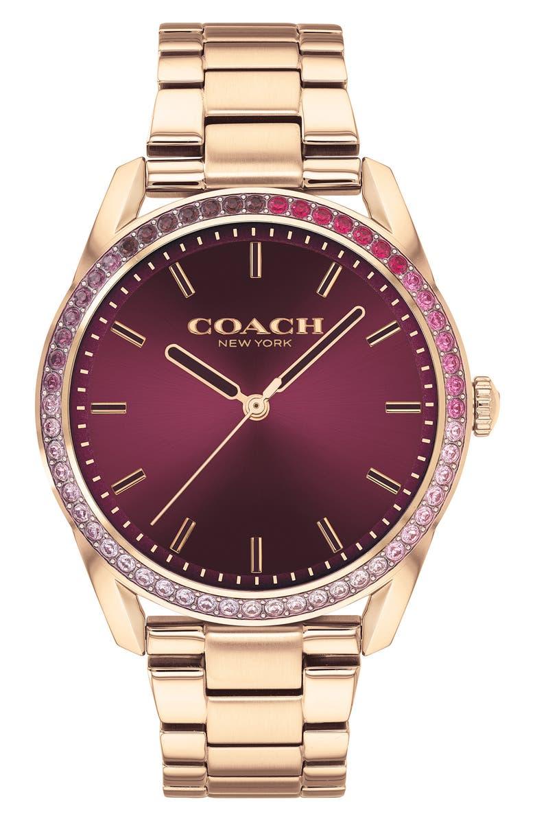 COACH Preston Bracelet Watch, 36mm, Main, color, CARNATION GLD/OXBLOOD/SILV