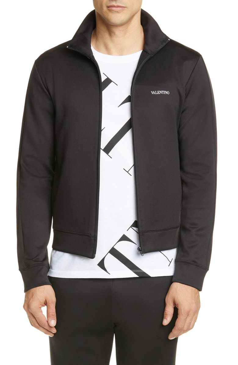 VALENTINO Track Jacket, Main, color, BLACK