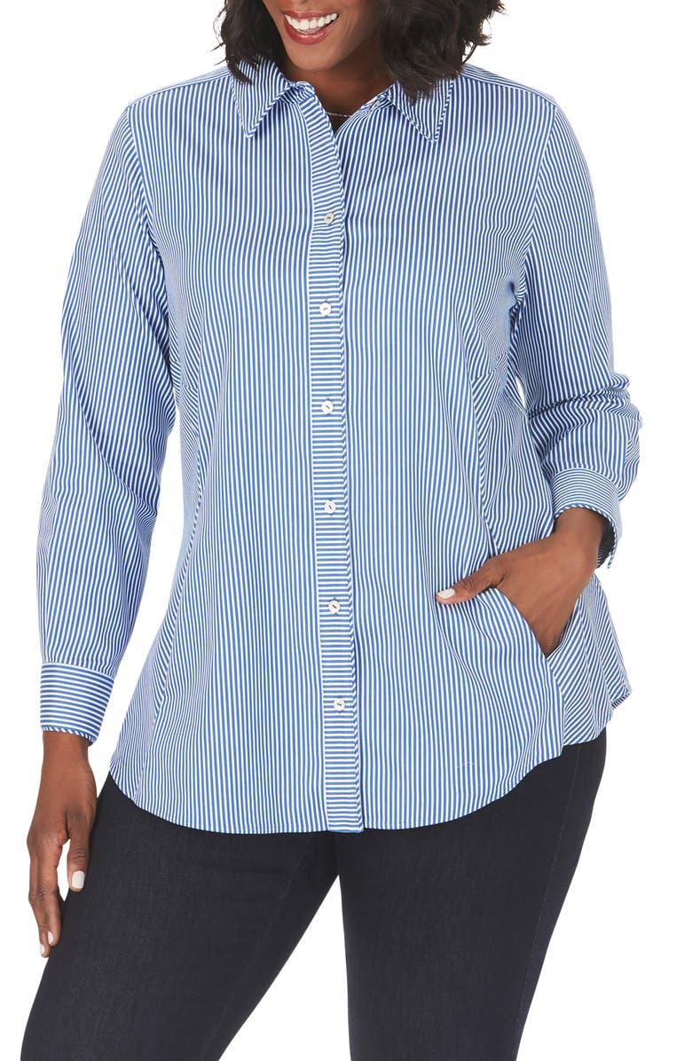 FOXCROFT Cici Stripe Non-Iron Stretch Tunic Shirt, Main, color, TWILIGHT BLUE