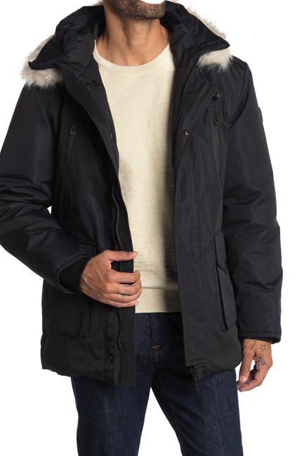 Image of NOIZE Faux Fur Trim Hooded Coat