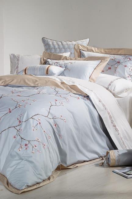 Image of Melange Home Blue Full/Queen Sakura Embroidered Duvet 3-Piece Set