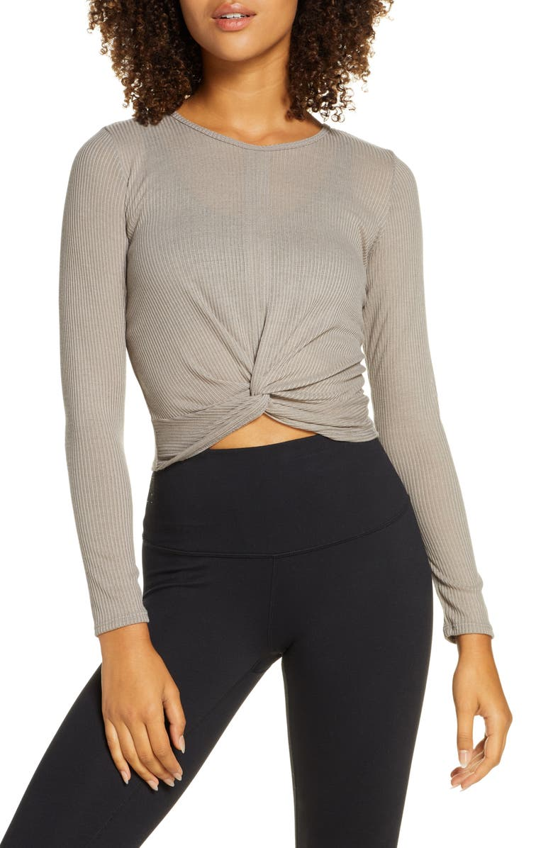 ONZIE Twirl Knot Front Crop Top, Main, color, TAUPE
