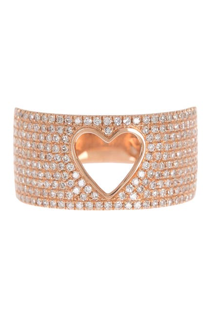 Image of Ron Hami 14K Rose Gold Pave Diamond Heart Cutout Ring - 0.71 ctw - Size 7