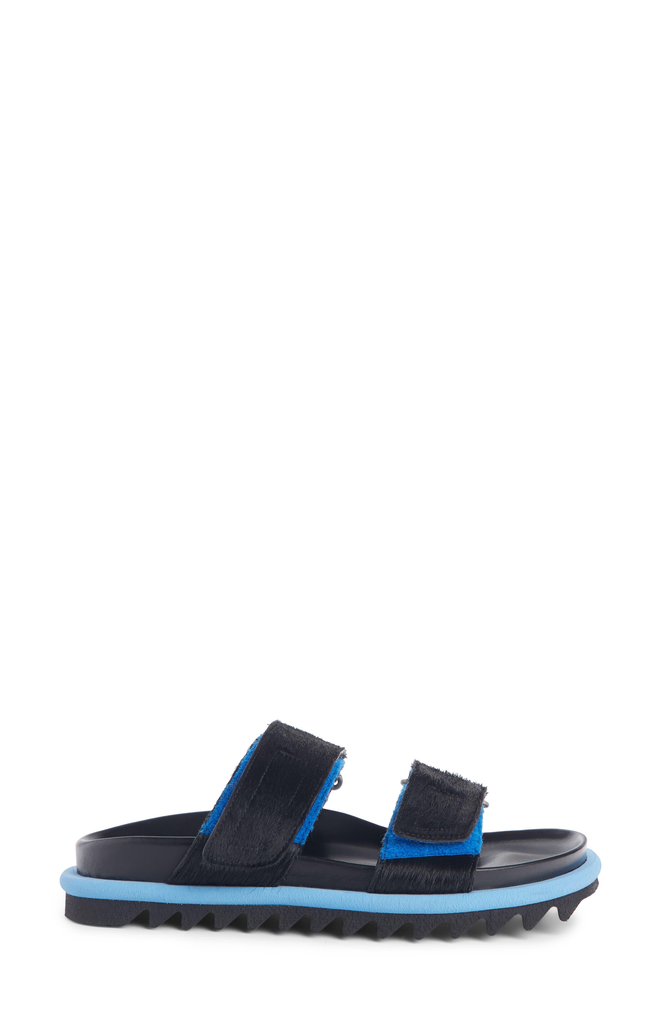 ,                             Genuine Calf Hair Double Band Sandal,                             Alternate thumbnail 3, color,                             BLACK