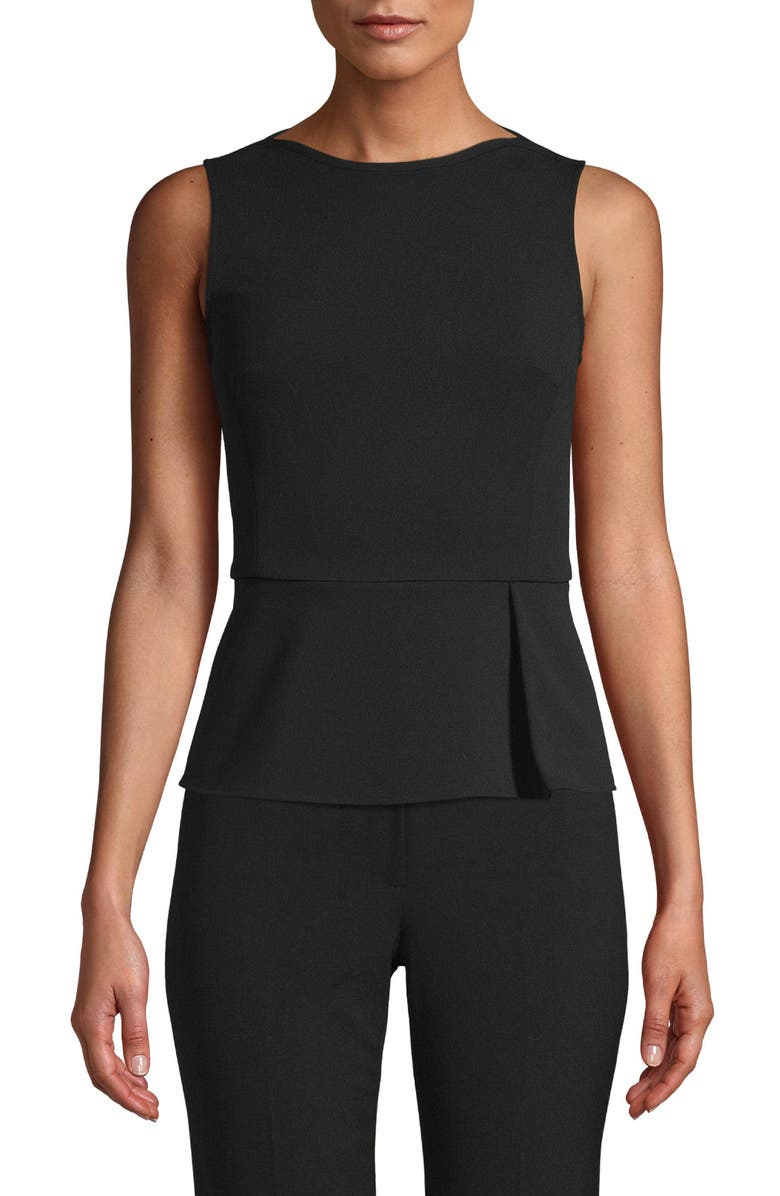 ANNE KLEIN Sleeveless Peplum Top, Main, color, 001
