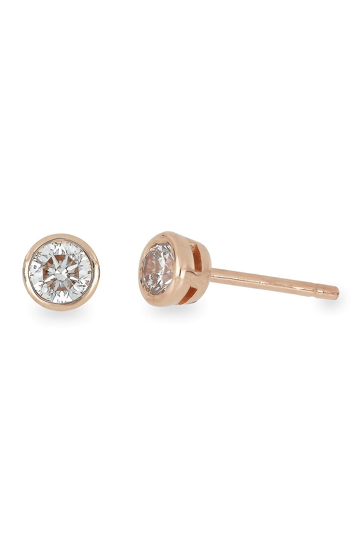 Image of Bony Levy 14K Rose Gold Bezel Set Diamond Stud Earrings - 1.00 ctw