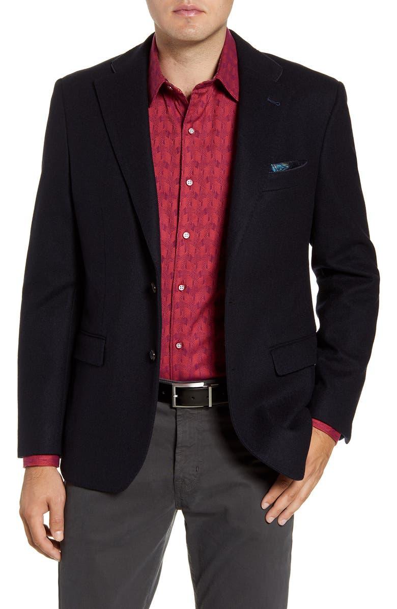 ROBERT GRAHAM Kerrigan Regular Fit Cashmere Blend Blazer, Main, color, DARK NAVY