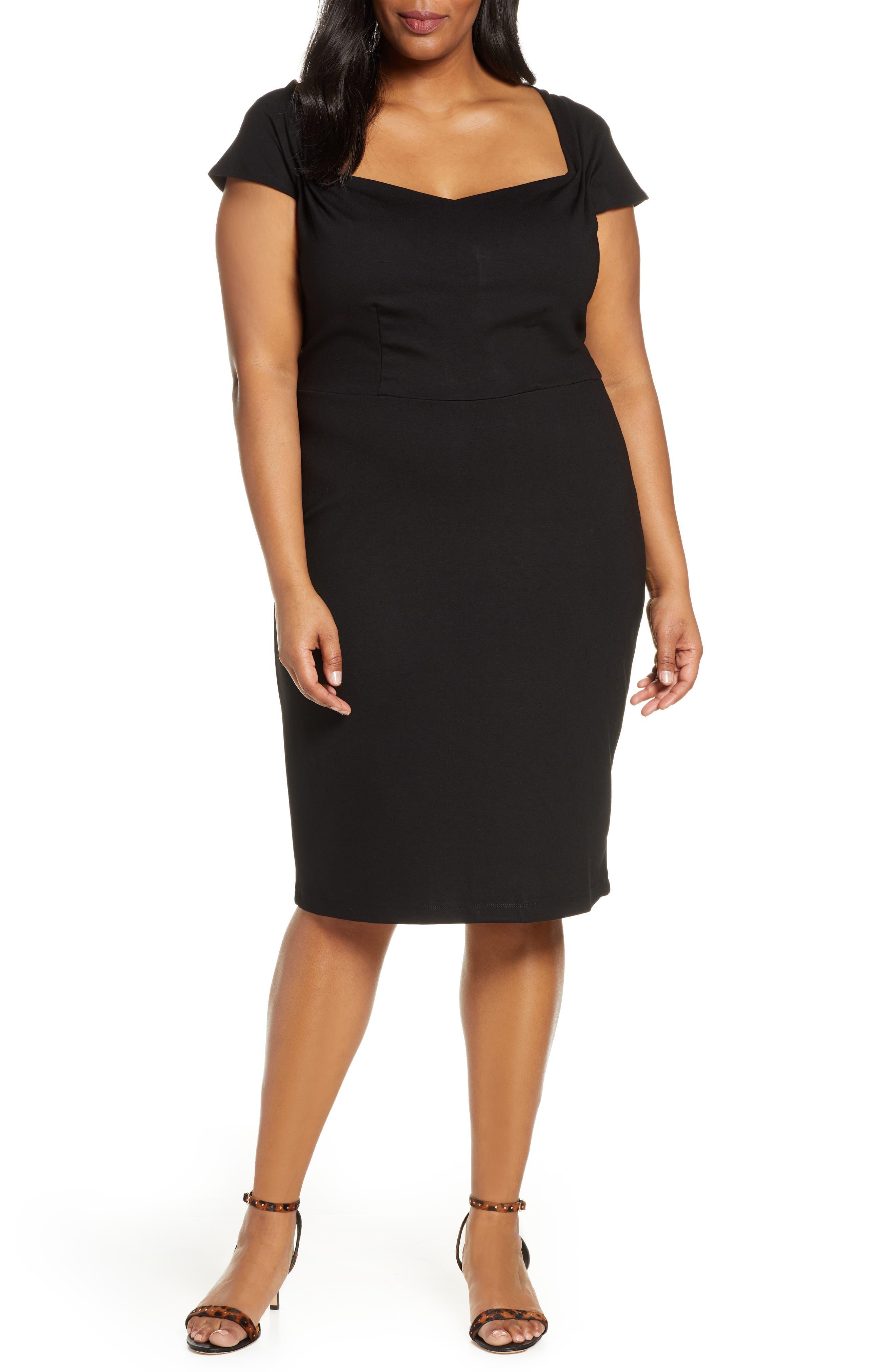 Plus Size Eloquii Portrait Neck Sheath Dress, Black