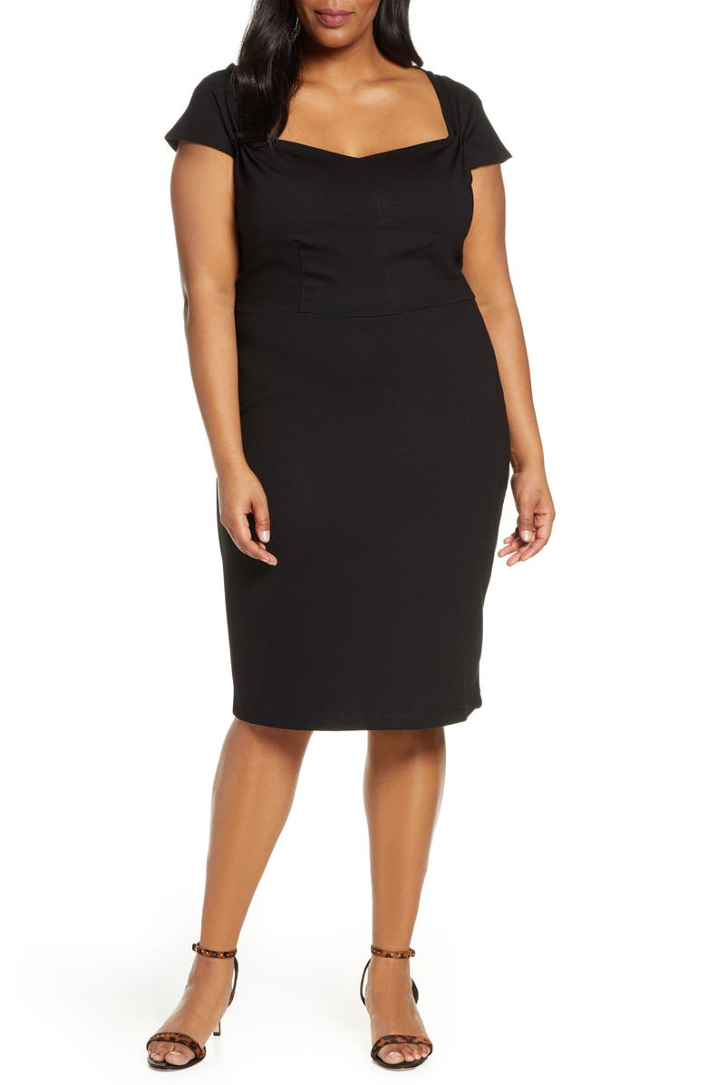 ELOQUII Portrait Neck Sheath Dress, Main, color, BLACK