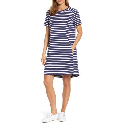 Petite Caslon Short Sleeve Cotton Blend Dress, Blue