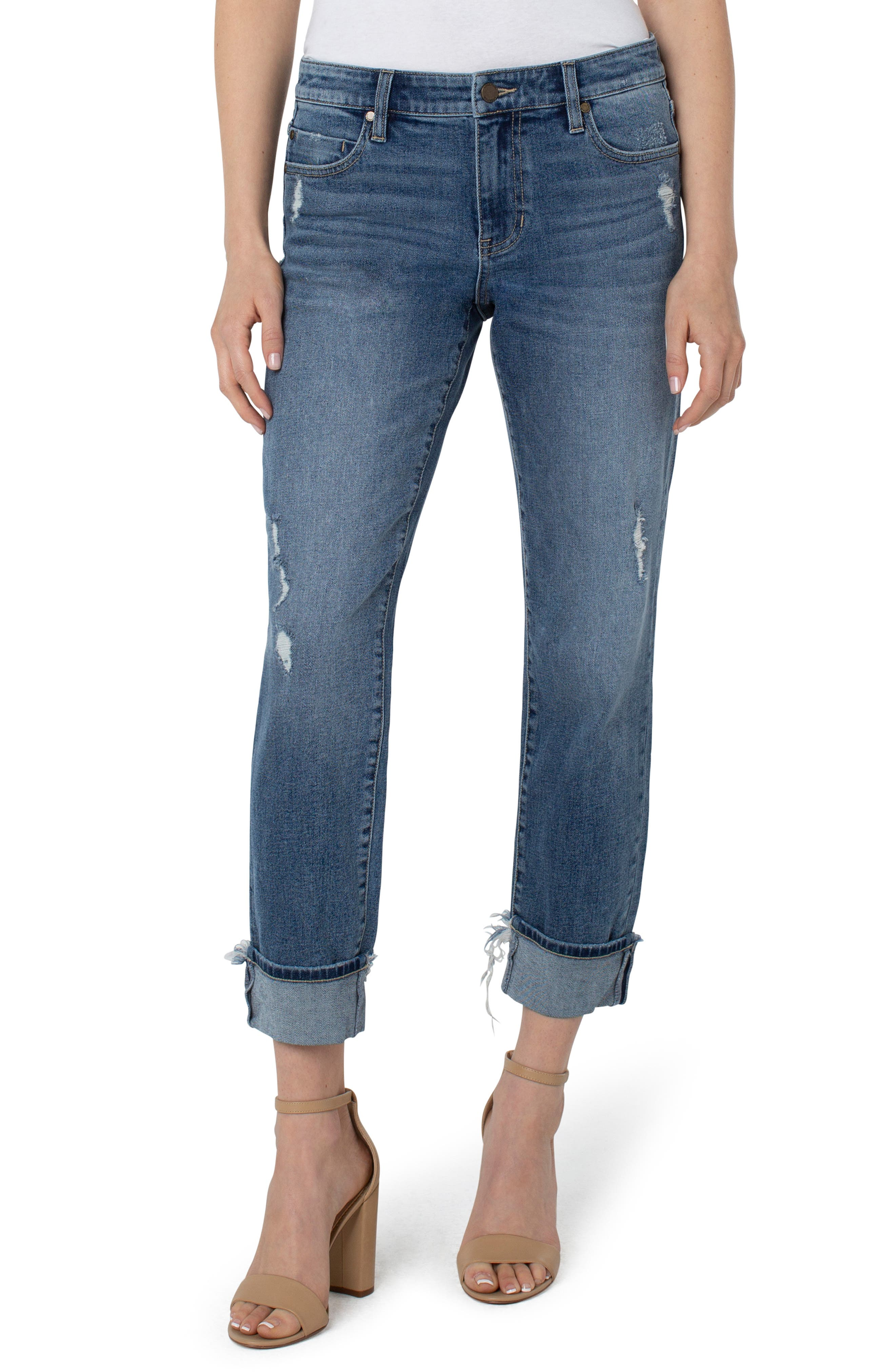 Marley High Waist Distressed Girlfriend Jeans