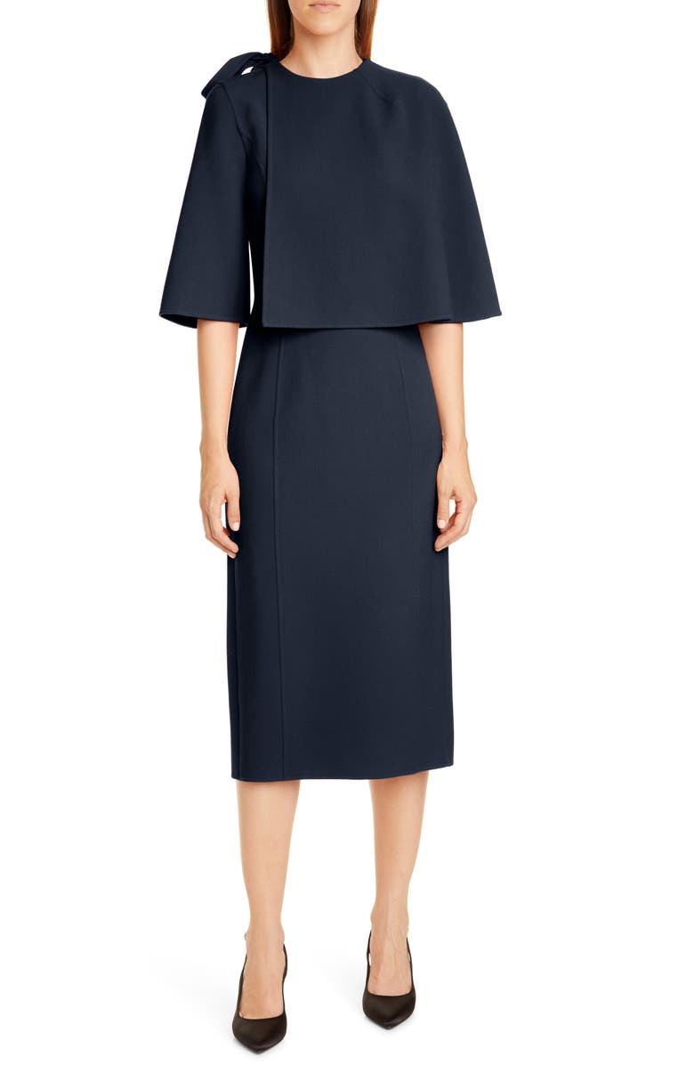 OSCAR DE LA RENTA Wool Blend Cape Dress, Main, color, NAVY