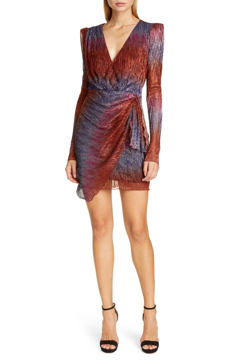 PATBO Faux Wrap Long Sleeve Cocktail Dress, Main, color, MULTI