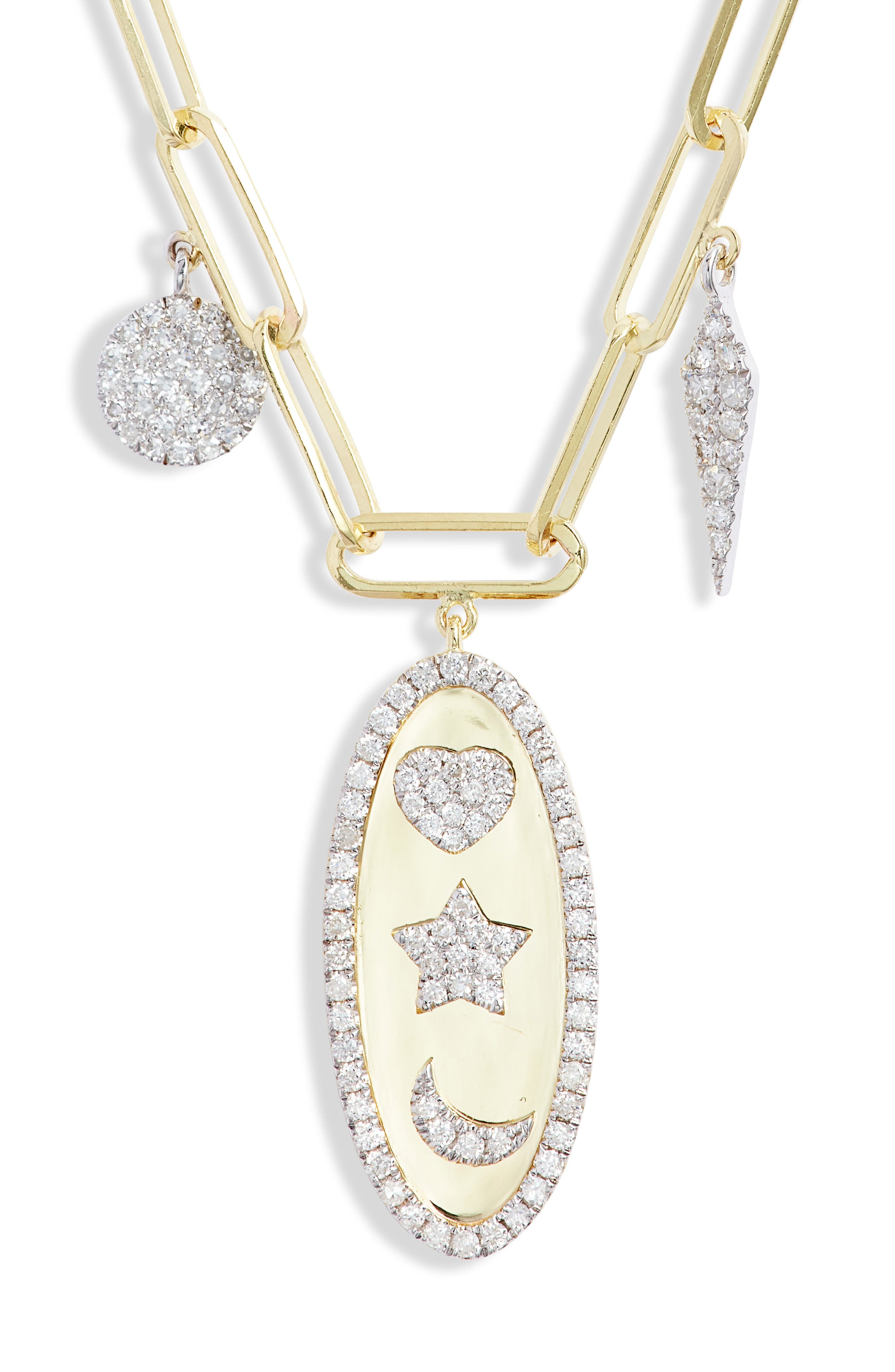 Moon & Star Diamond Charm Necklace