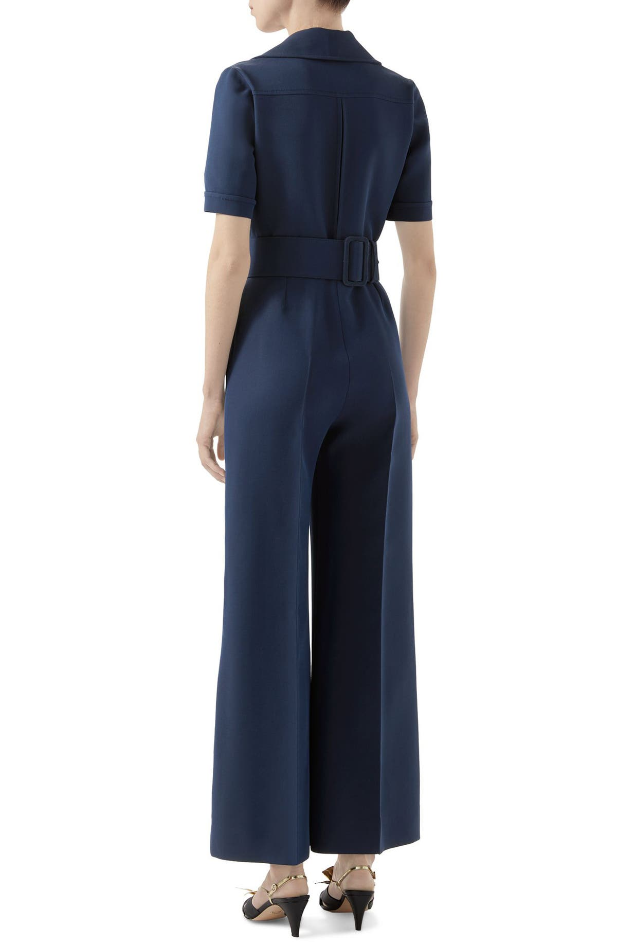 b81bf449e6d Gucci Belted Wide Leg Cady Crepe Jumpsuit   Nordstrom