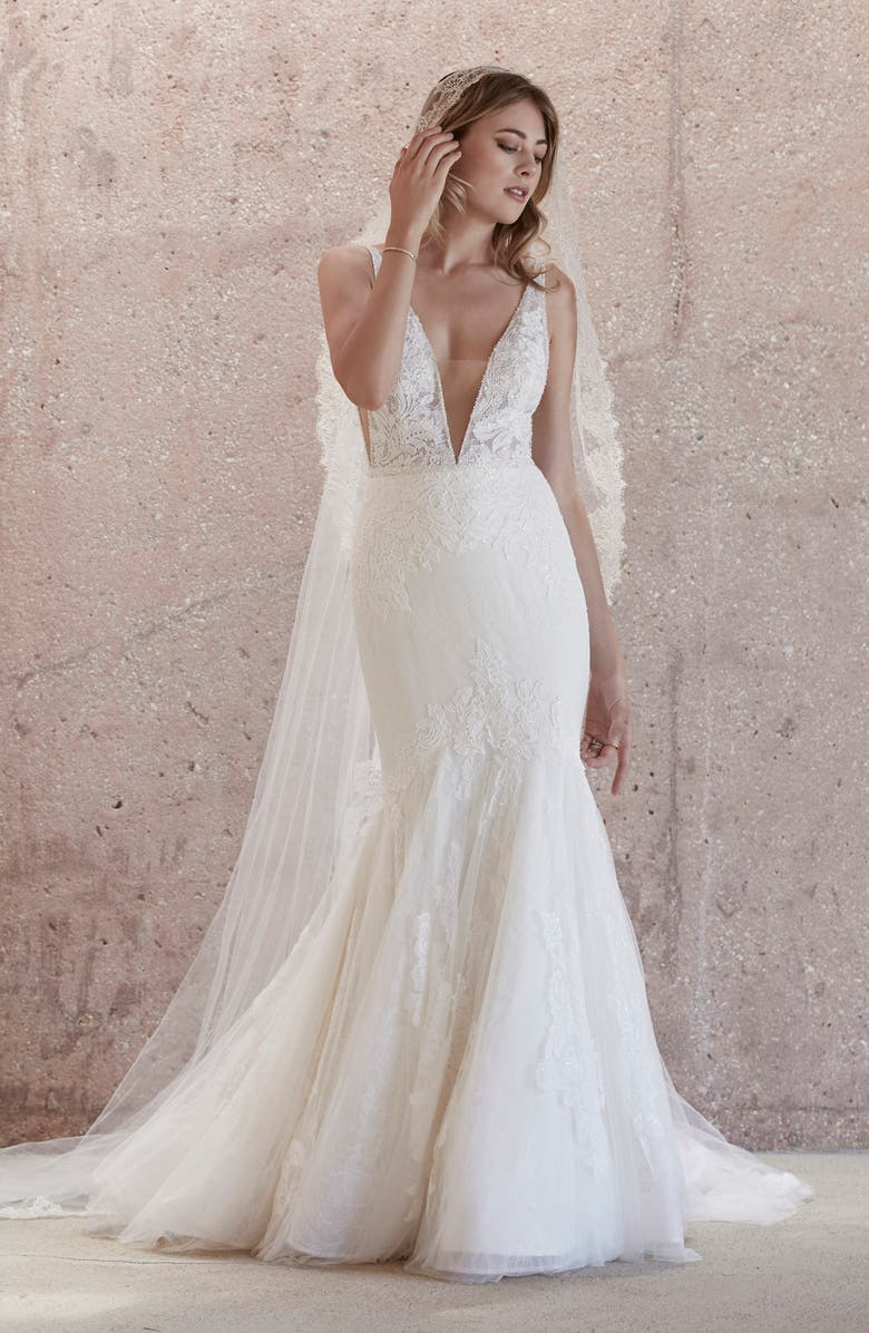 WATTERS Campbell Beaded Lace Mermaid Wedding Dress, Main, color, IVORY/IVORY