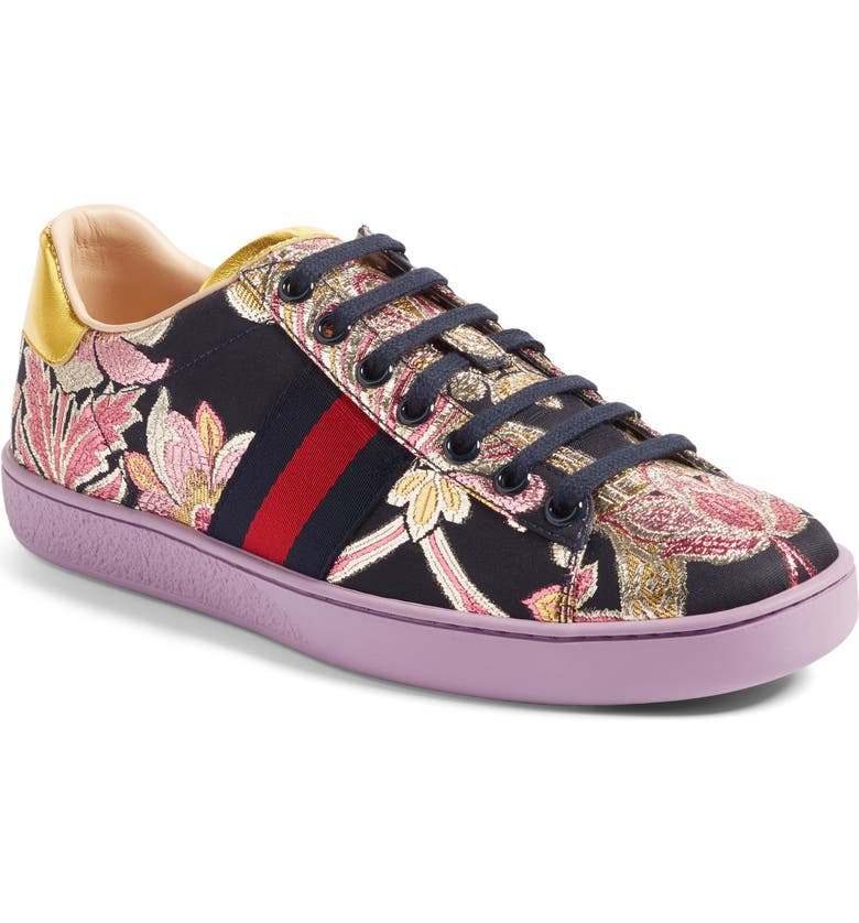GUCCI New Ace Floral Sneaker, Main, color, 500
