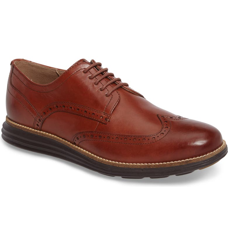 COLE HAAN Original Grand Wingtip Derby, Main, color, WOODBURY/ JAVA LEATHER
