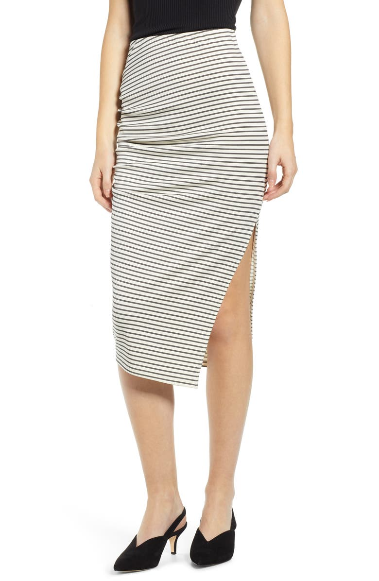 LEITH Ruched Midi Skirt, Main, color, IVORY BLACK AVA STRIPE