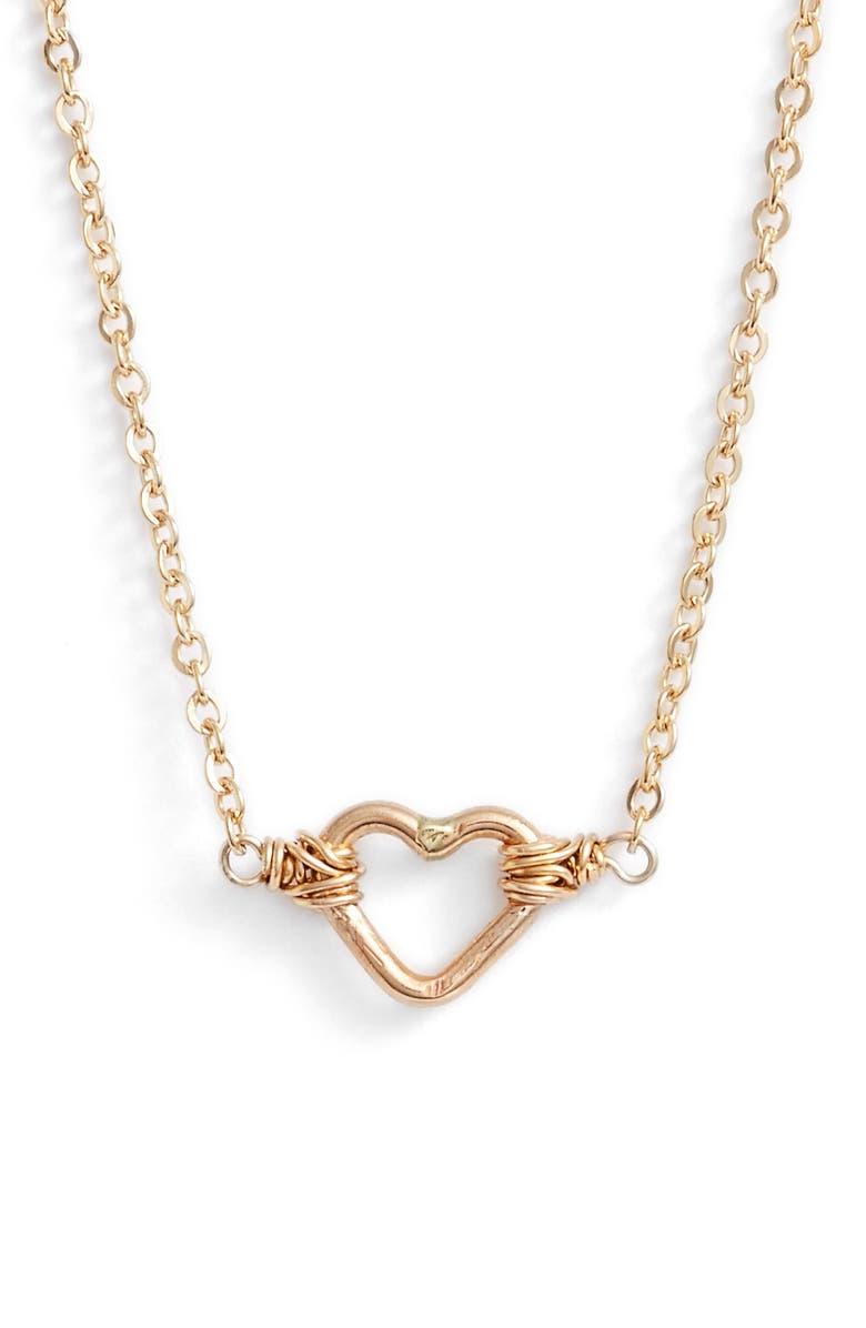 NASHELLE Mini Open Heart Pendant Necklace, Main, color, GOLD