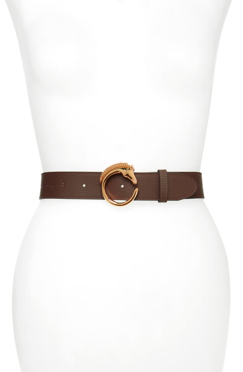 CHLOÉ Horse Buckle Belt, Main, color, DARK BROWN