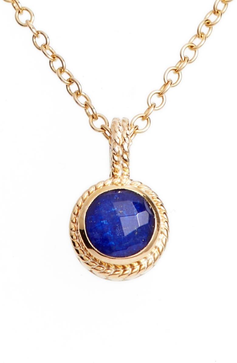 ANNA BECK Semiprecious Stone Round Drop Pendant Necklace, Main, color, 405