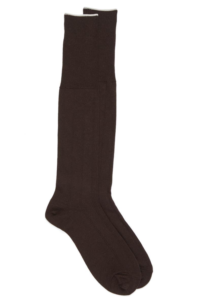 NORDSTROM MEN'S SHOP Over the Calf Wool Dress Socks, Main, color, BROWN