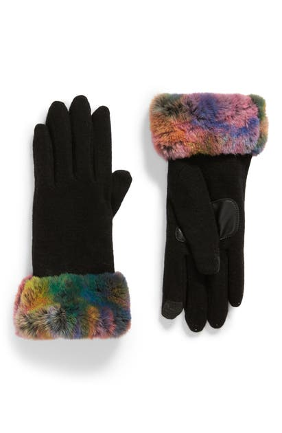 Echo Wool & Cashmere Blend Gloves With Faux Fur Cuff In Black Multi