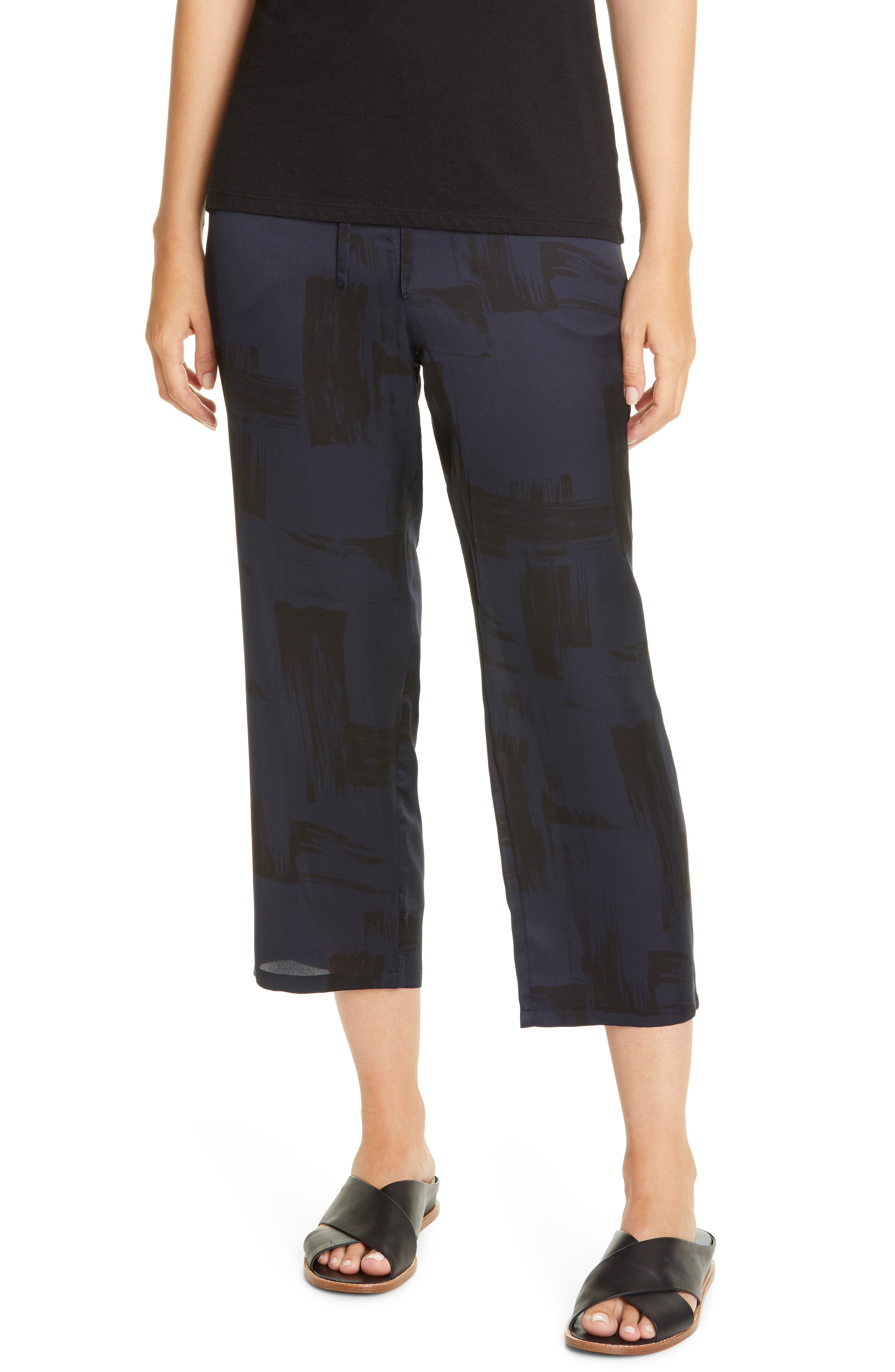 Image of Eileen Fisher Slouchy Silk & Organic Cotton Crop Pants