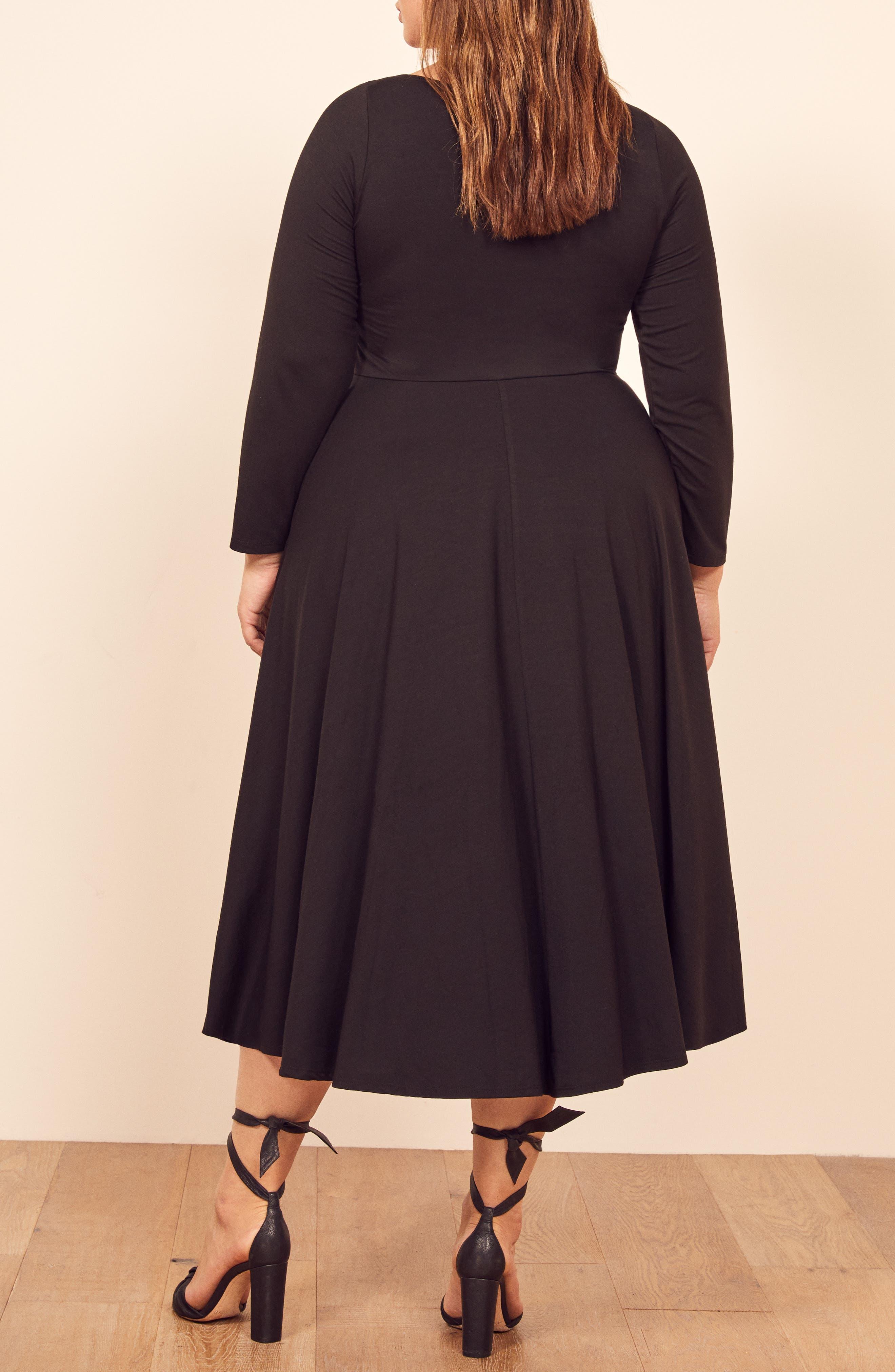 ,                             Lou Midi Dress,                             Alternate thumbnail 6, color,                             BLACK