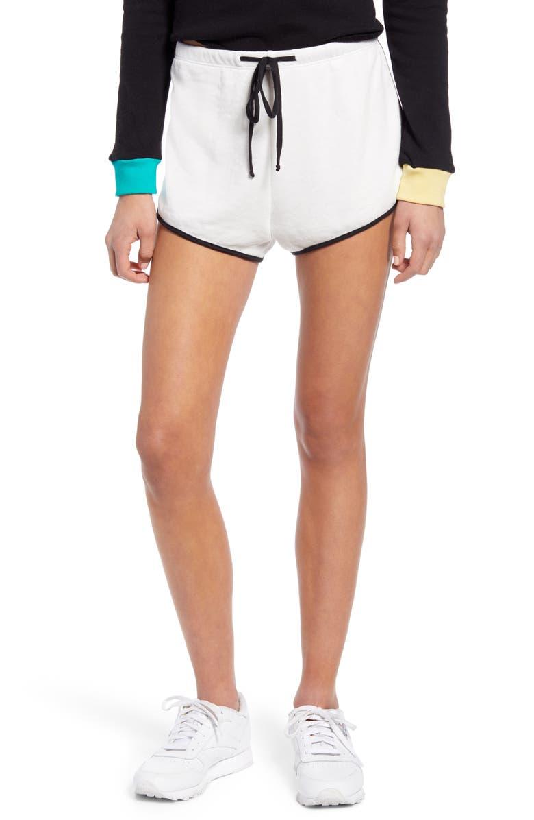 WILDFOX Pool Party Shorts, Main, color, VANILLA/ CLEAN BLACK