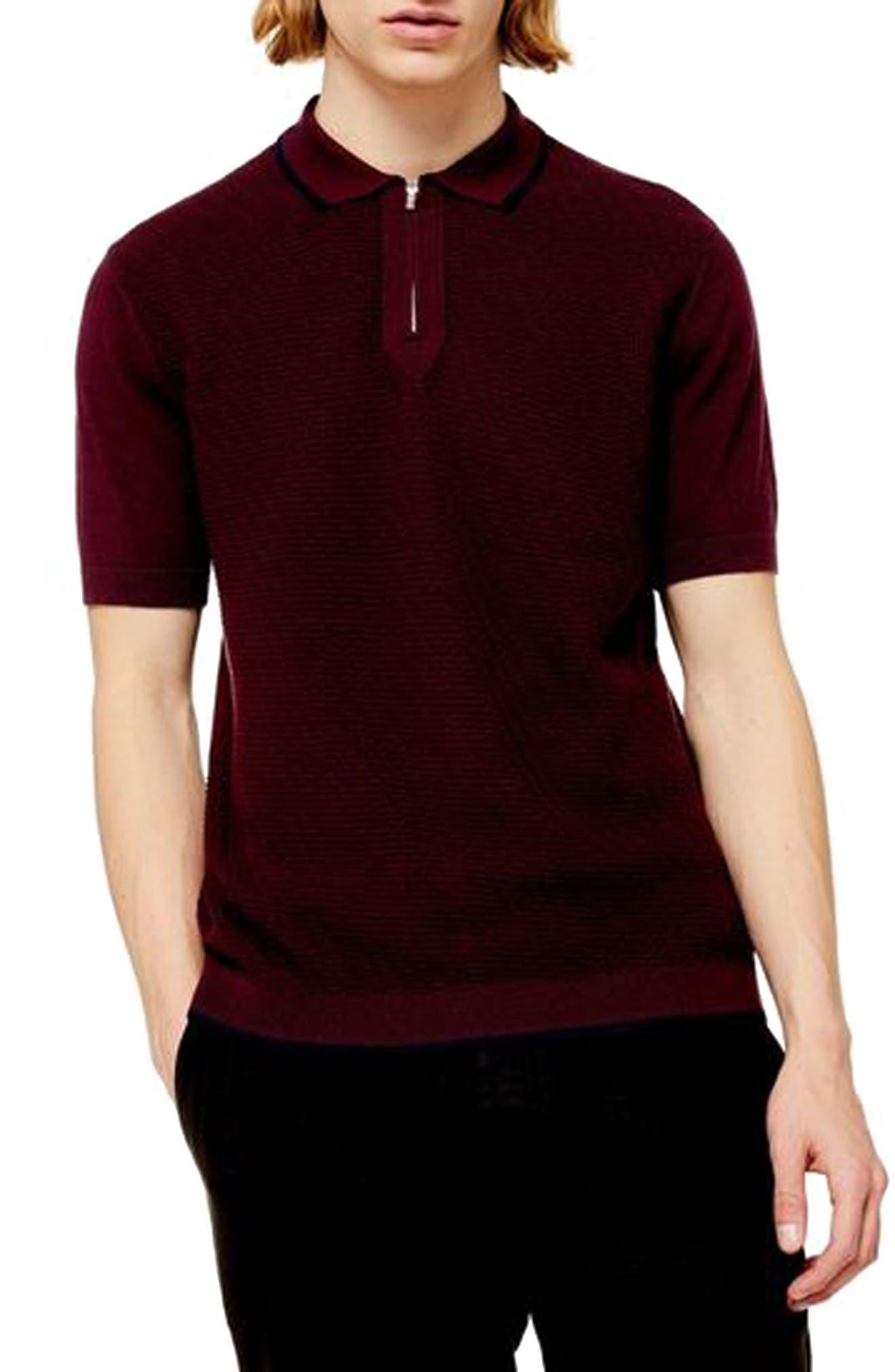1950s Men's Clothing Mens Topman Trim Fit Zip Sweater Polo Size XX-Large - Burgundy $22.50 AT vintagedancer.com