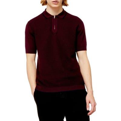 Topman Trim Fit Zip Sweater Polo, Burgundy