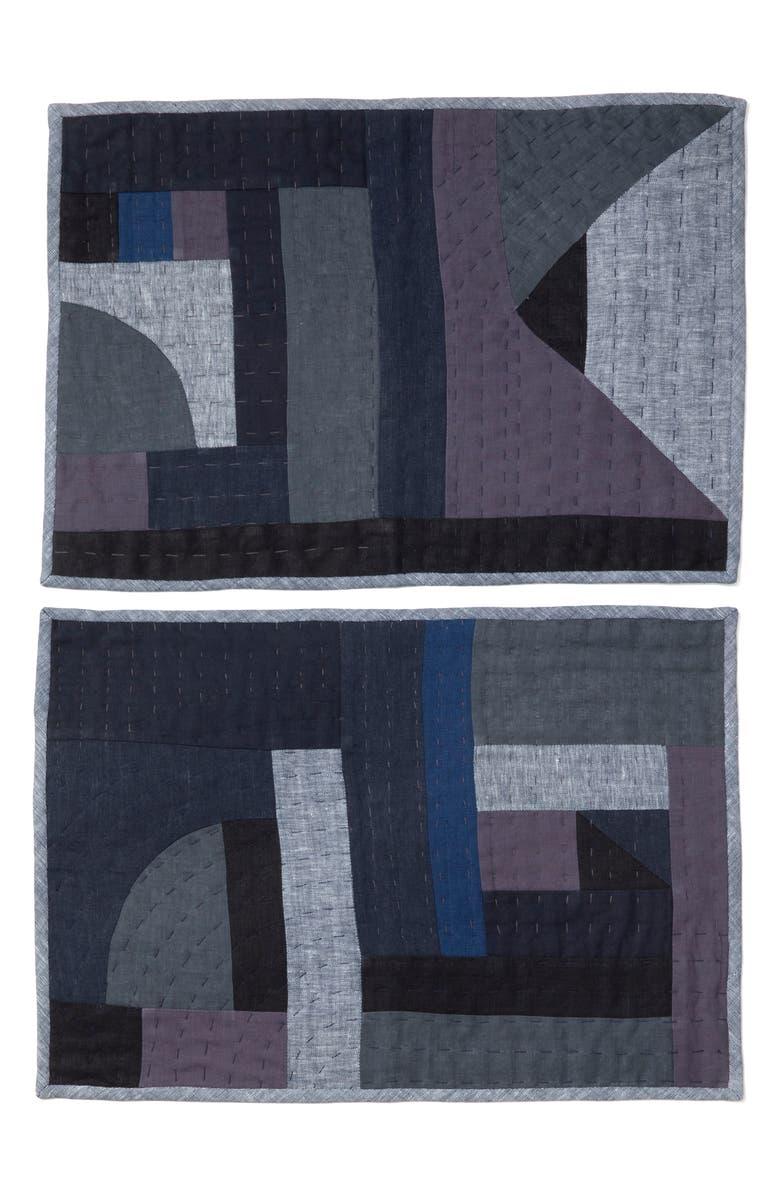 THOMPSON STREET STUDIO Linen & Cotton Patchwork Placemat, Main, color, INDIGO