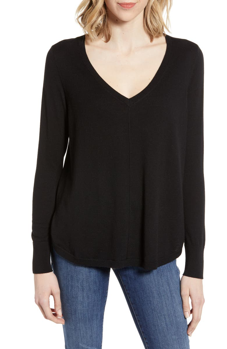 CASLON<SUP>®</SUP> High-Low V-neck Sweater, Main, color, BLACK