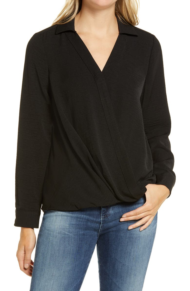 VINCE CAMUTO Wrap Front Rumple Twill Blouse, Main, color, 001