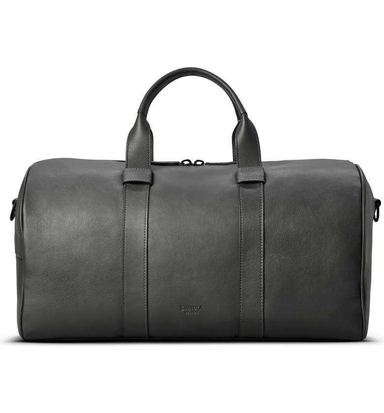 SHINOLA Guardian Leather Duffle Bag, Main, color, ASPHALT