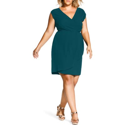 Plus Size City Chic Classic Wrap Style Dress, Green
