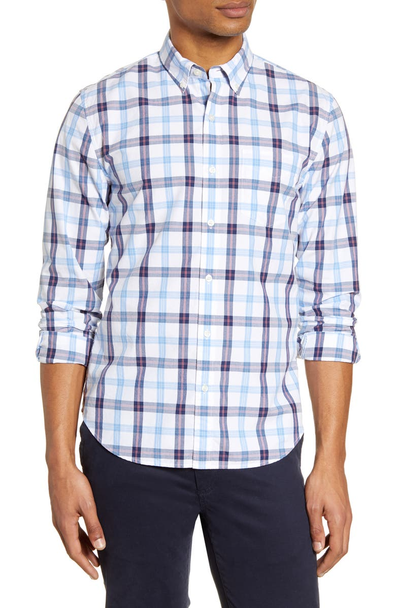 BONOBOS Slim Fit Plaid Button-Down Shirt, Main, color, KENSETT PLAID DARK SURF