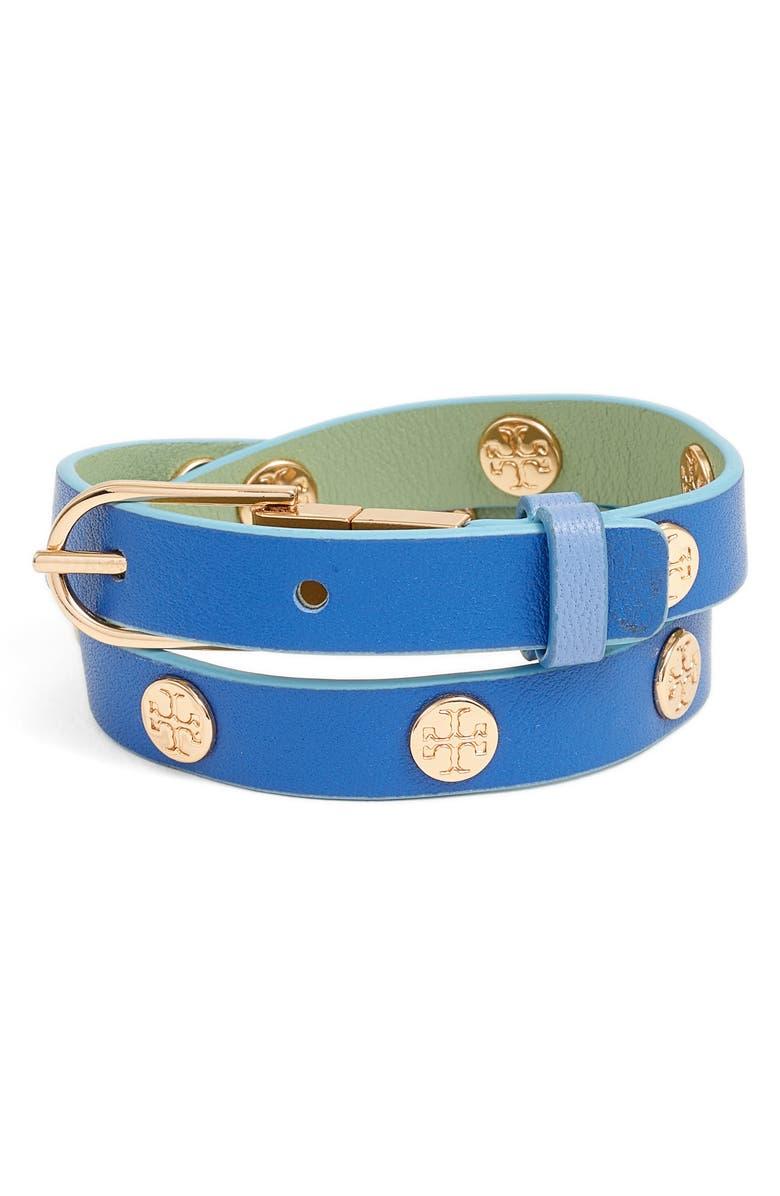 TORY BURCH Reversible Double Wrap Logo Bracelet, Main, color, 400